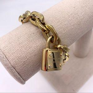Michael Kors Gold Padlock Charm Toggle Bracelet